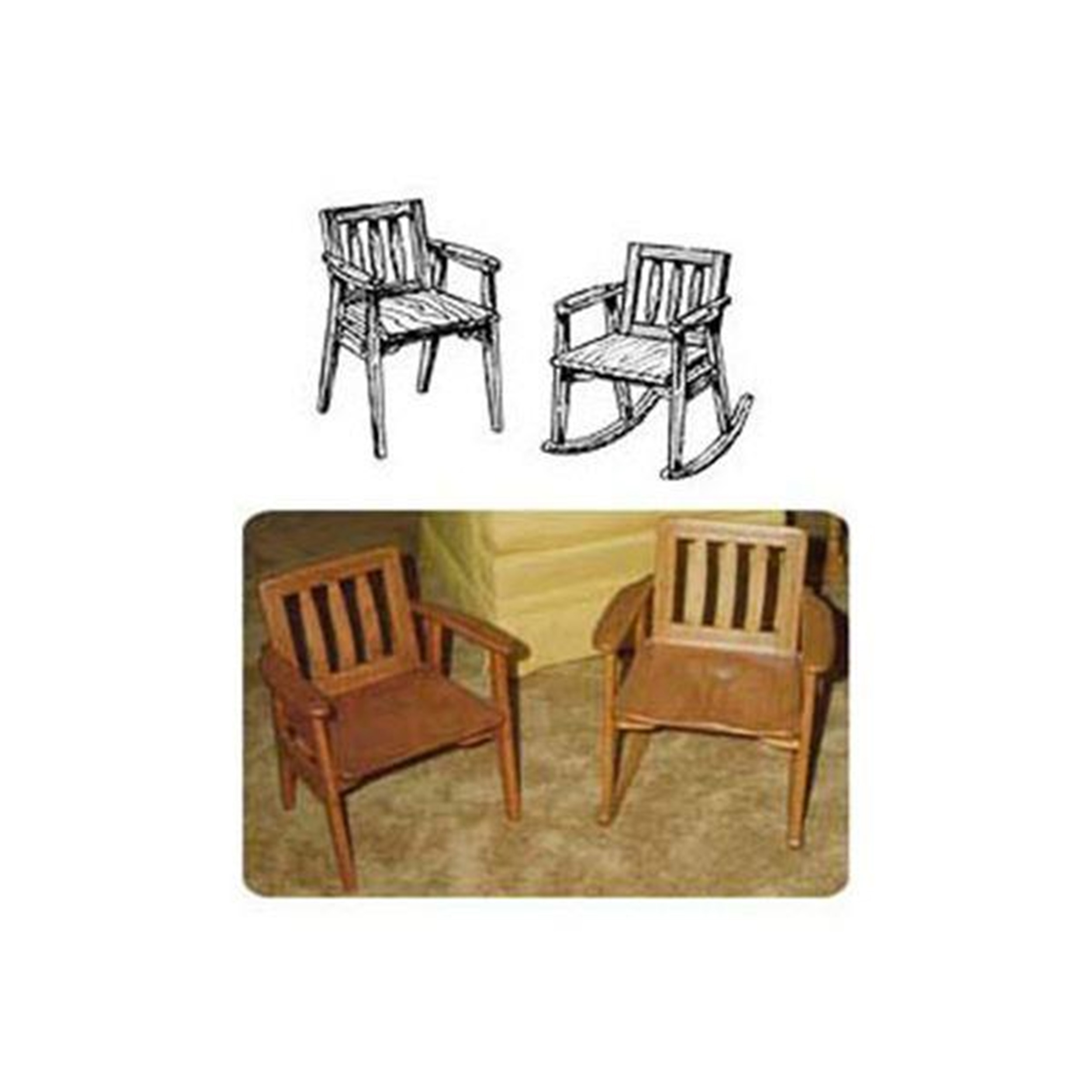 Woodworking Project Paper Plan to Build Child's Rocker with Arm Chair