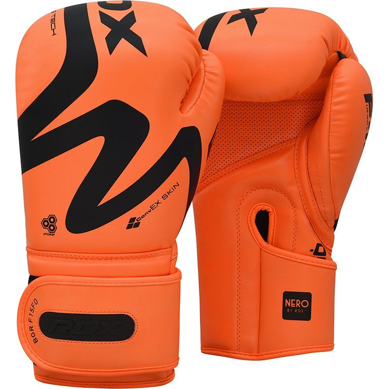 RDX F15 Trainings Boxhandschuhe fuer Bag Work 14oz Orange/Schwarz