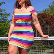 Plus Rainbow Striped Bodycon Mini Dress