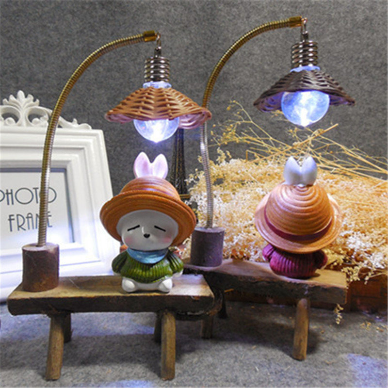 Rogue Rabbit Night Light Resin Crafts Ornaments Retro Lovers Miniature Figurines LED Lamp Gifts