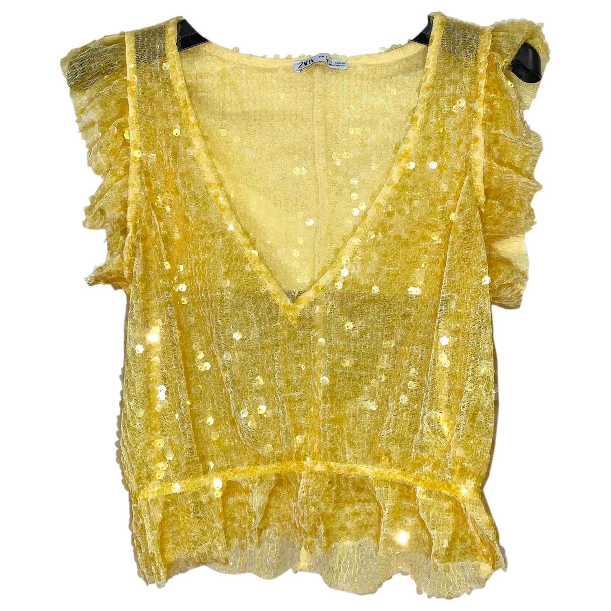 Zara \N Yellow Glitter  top for Women S International