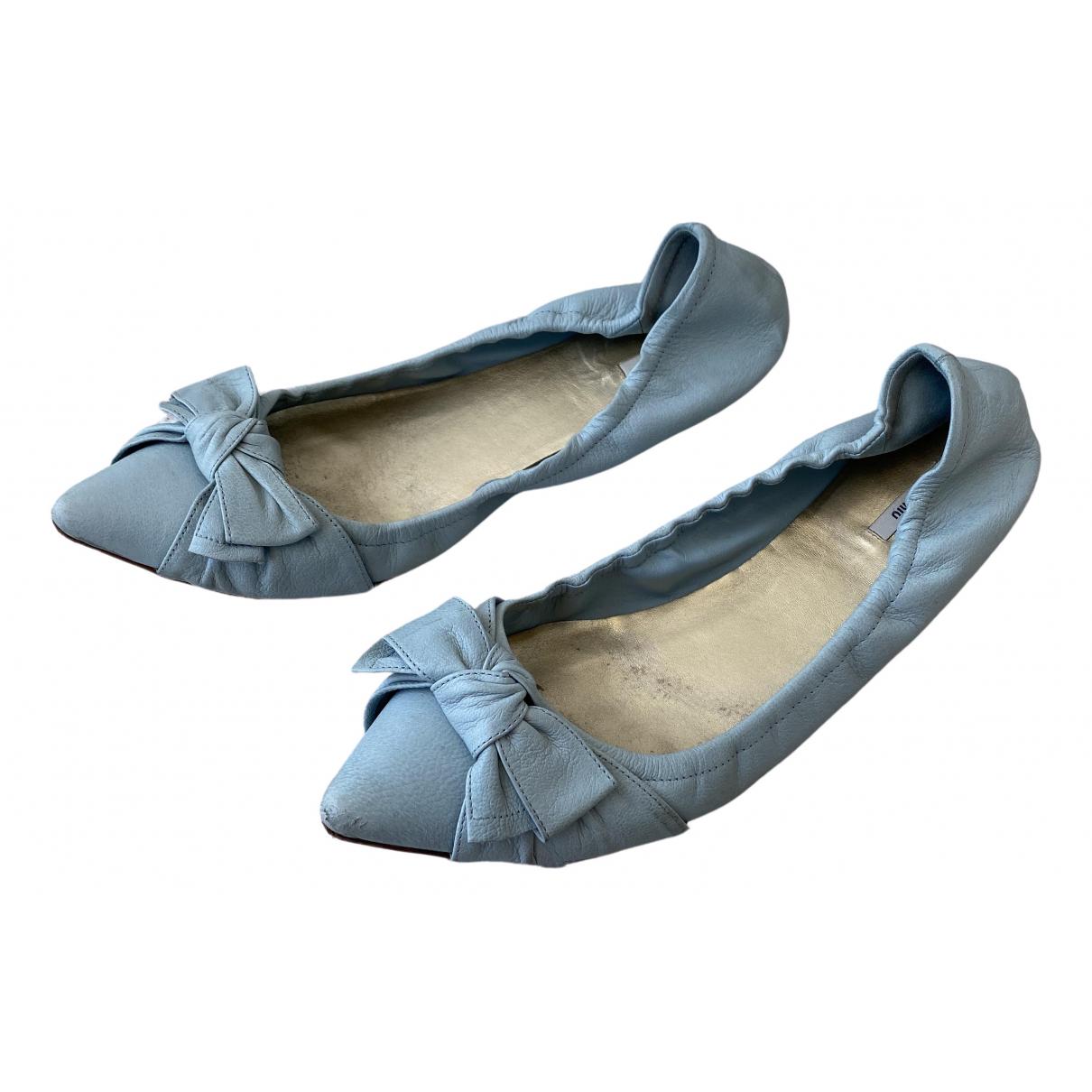 Miu Miu \N Blue Leather Ballet flats for Women 41 EU
