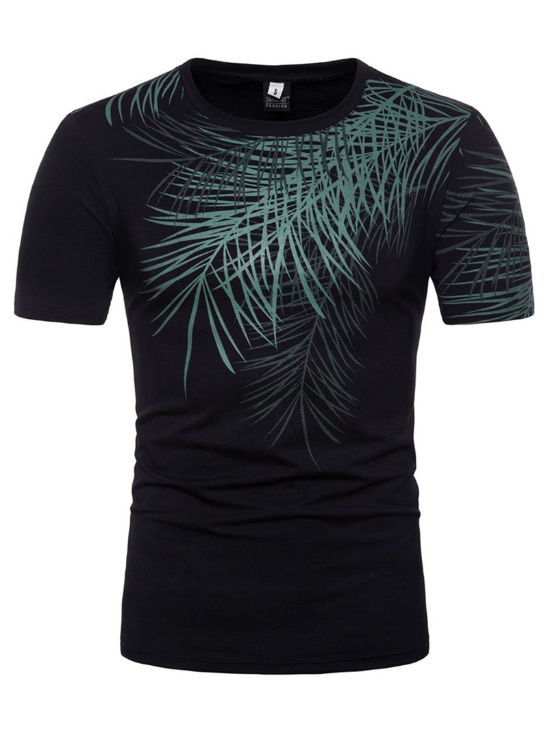 Ericdress Leaf Print Plain Mens Loose Summer T Shirt