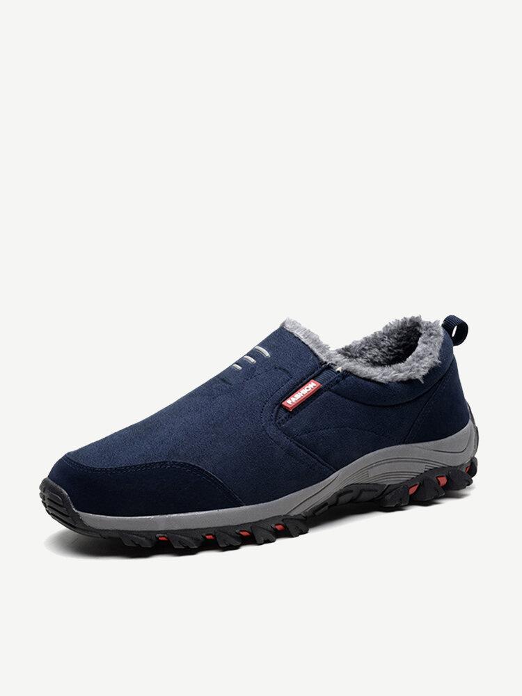 Men Suede Slip Resistant Slip On Outdoor Casual Hiking Sneakers
