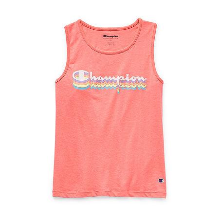 Champion Big Girls Scoop Neck Tank Top, Medium , Pink