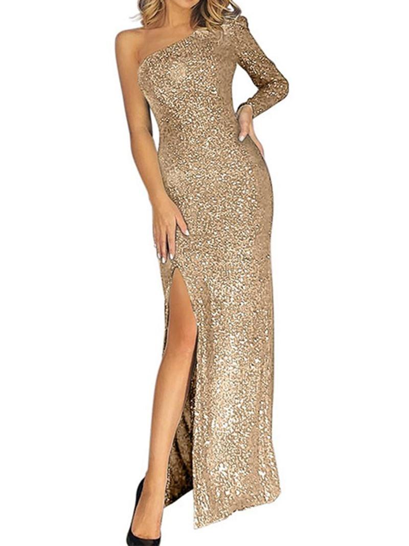 Ericdress Split Floor-Length Long Sleeve One-Shoulder Fall Women's Dress