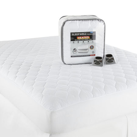 Sleep Well by Biddeford Quilted Heated Mattress Pad, One Size , White