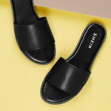 Slip On Sandalen mit Nieten und breitem Band
