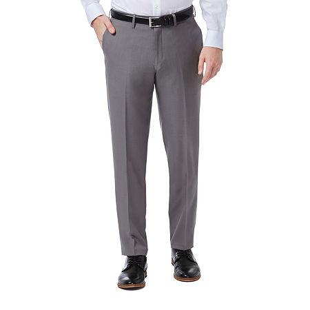 Haggar Premium Comfort Dress Pant Slim Fit Flat Front, 32 30, Silver