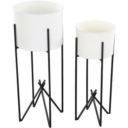 Tamma Collection VASO151 2 PC Outdoor Vase with Iron Material in White and Black Powder Coated
