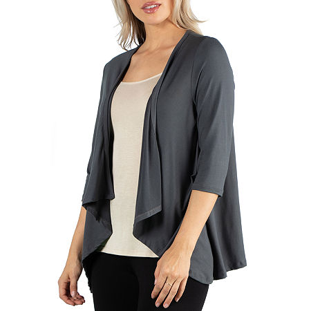 24/7 Comfort Apparel 3/4 Length Sleeve Open Cardigan, Large , Black