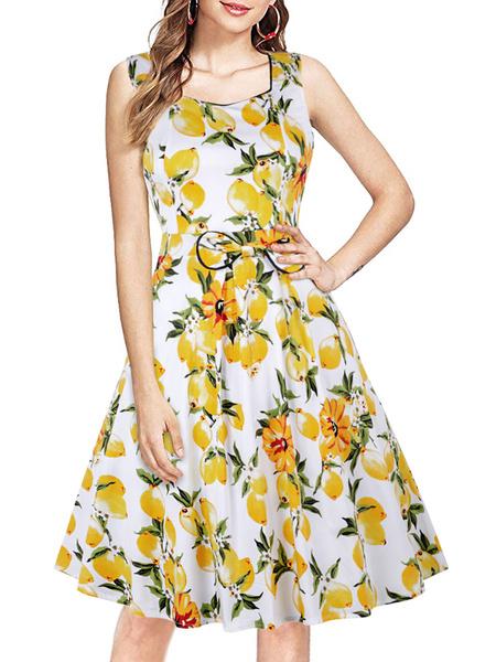 Milanoo Mujer sin mangas amarillo 1950 vestido retro de cuello cuadrado vestido de oscilacion