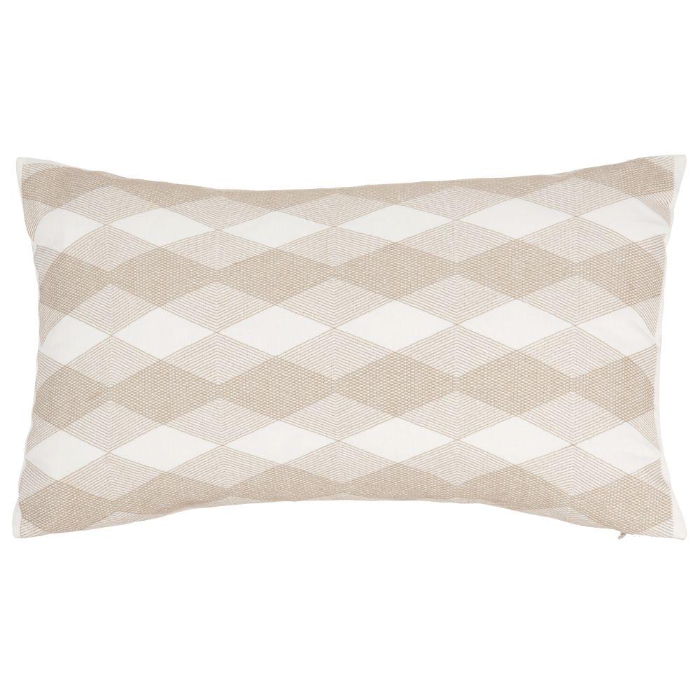 Kissenbezug aus Baumwolle, grau und ecrufarben 30x50