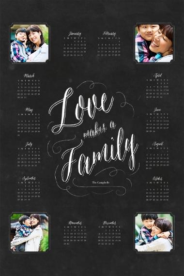 Calendar 24x36 Poster , Home Décor -Family Chalkboard