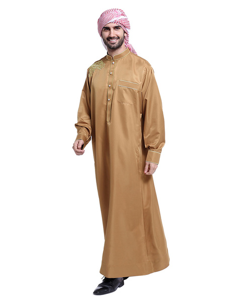 Milanoo Arabian Men Robe Stand Collar manga larga bordado Abaya