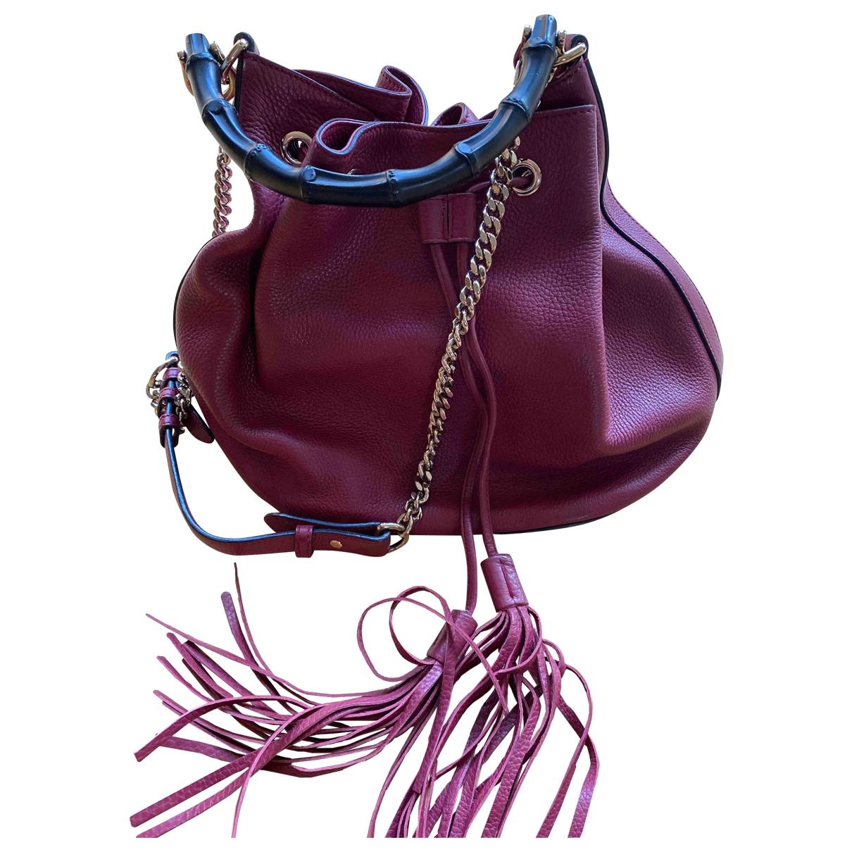 Gucci Bamboo Burgundy Leather handbag for Women \N