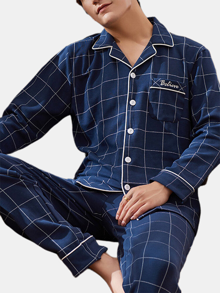 Men Cotton Plaid Pajamas Set Button Down Thermal Home Loungewear With Pockets