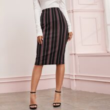 Elastic Waist Striped Pencil Skirt