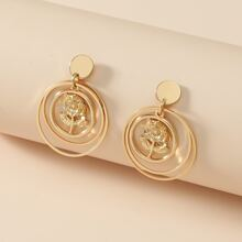 Floral Decor Round Drop Earrings