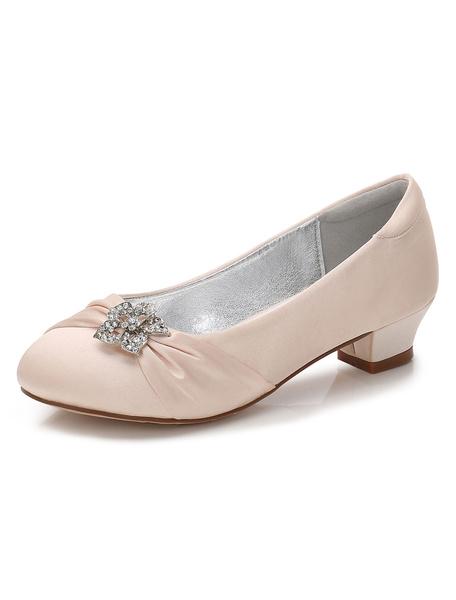 Milanoo Zapatos de Florista de puntera redonda de tacon gordo 3cm con pedreria para chica
