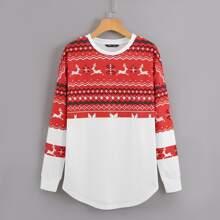 Drop Shoulder Christmas Print Sweatshirt