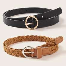 2pcs Braided O-ring Buckle Belt