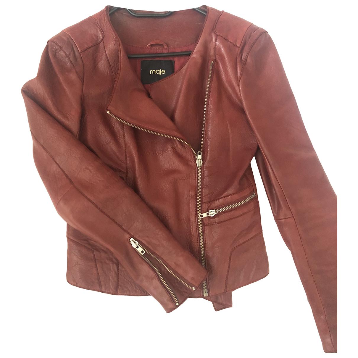 Maje N Burgundy Leather jacket for Women 36 FR