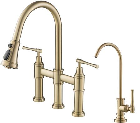 KPF3121FF102BG KRAUS Allyn    Transitional Bridge Kitchen Faucet and Water Filter Faucet Combo in Brushed