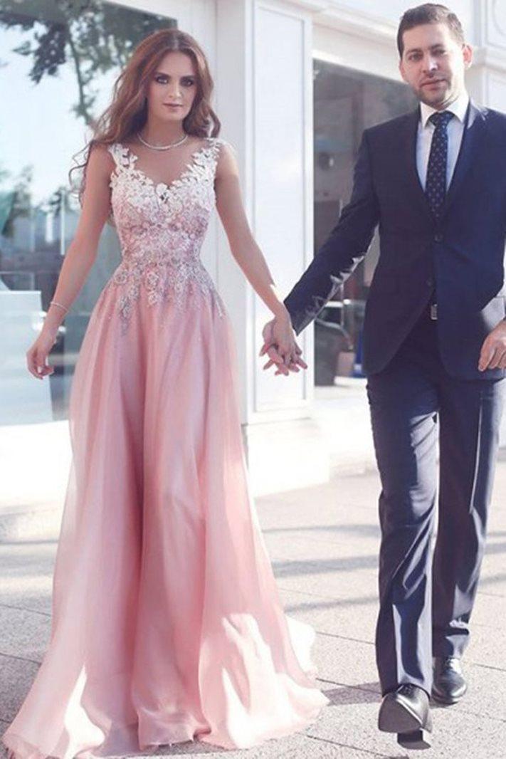 A-Line Appliques V-Neck Floor-Length Evening Dress