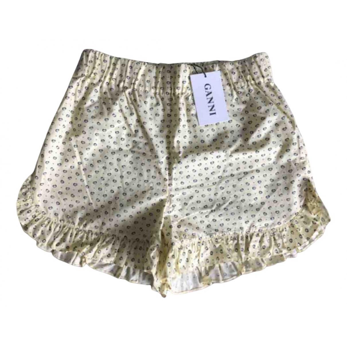 Ganni - Short   pour femme en coton - jaune