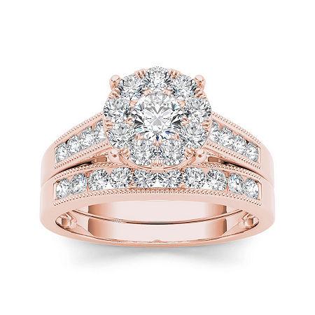 1 CT. T.W. Diamond 10K Rose Gold Bridal Ring Set, 8 , No Color Family