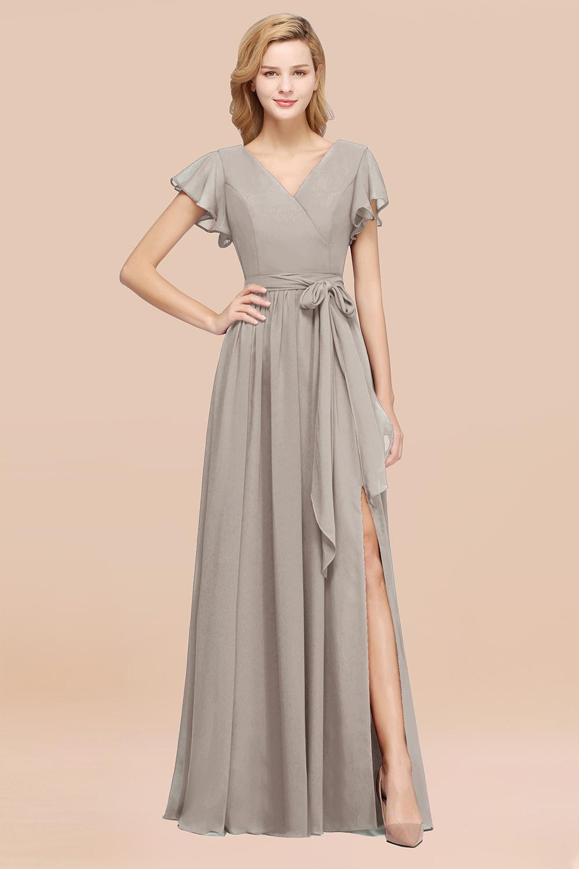BMbridal Burgundy V-Neck Long Bridesmaid Dress With Short-Sleeves