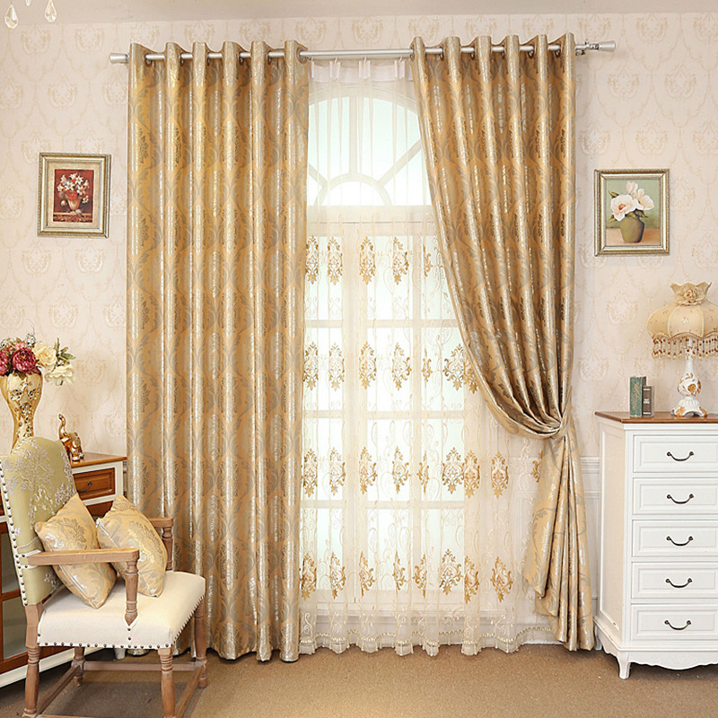 Embroidery Floral European Style 2 Colors Drapes Curtain for Room