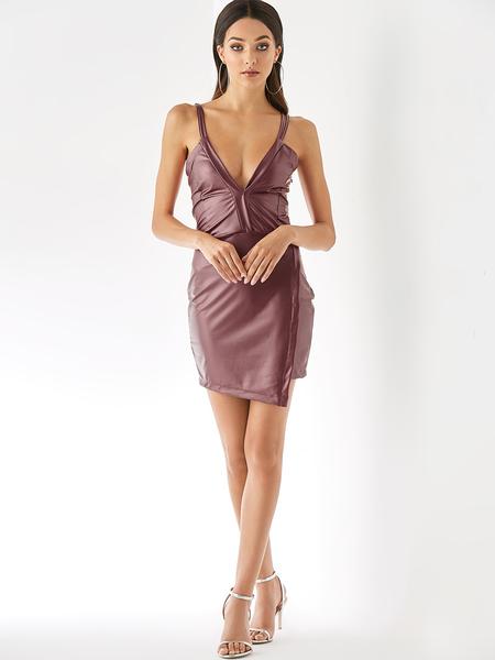 Yoins Burgundy Criss-cross Back Deep V Neck Wrap Hem Dress