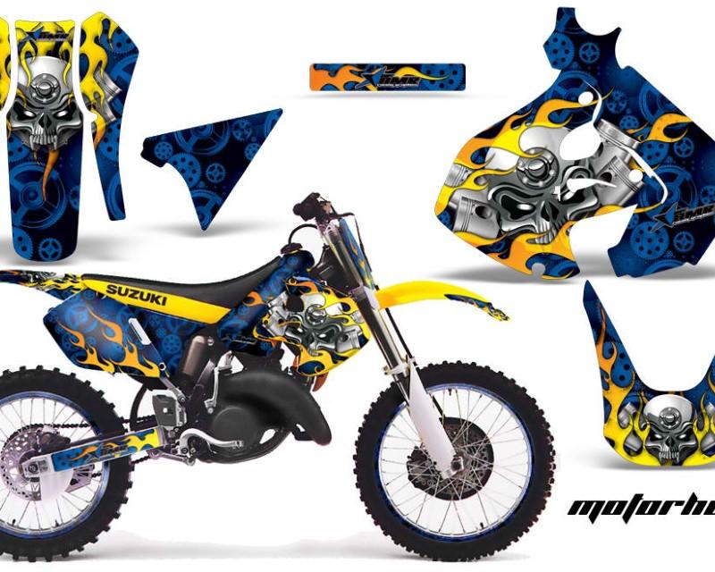 AMR Racing Graphics MX-NP-SUZ-RM125-99-00-MO U Kit Decal Sticker Wrap + # Plates For Suzuki RM125 1999-2000 MOTORHEAD BLUE