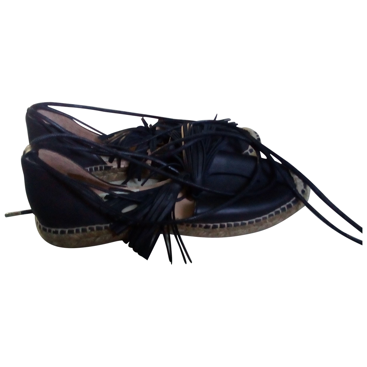 - Espadrilles   pour femme en cuir - noir