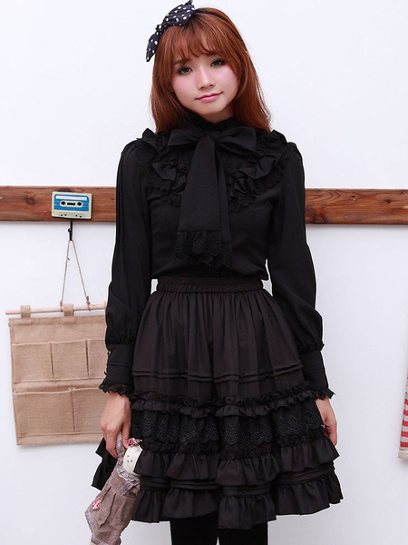 Milanoo Sweet Lolita Blouse Lace Ruffle High Collar Bows Vintage Lolita Shirt
