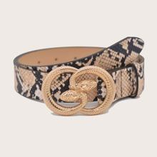 Guertel mit Schlangenleder Muster und Schnalle