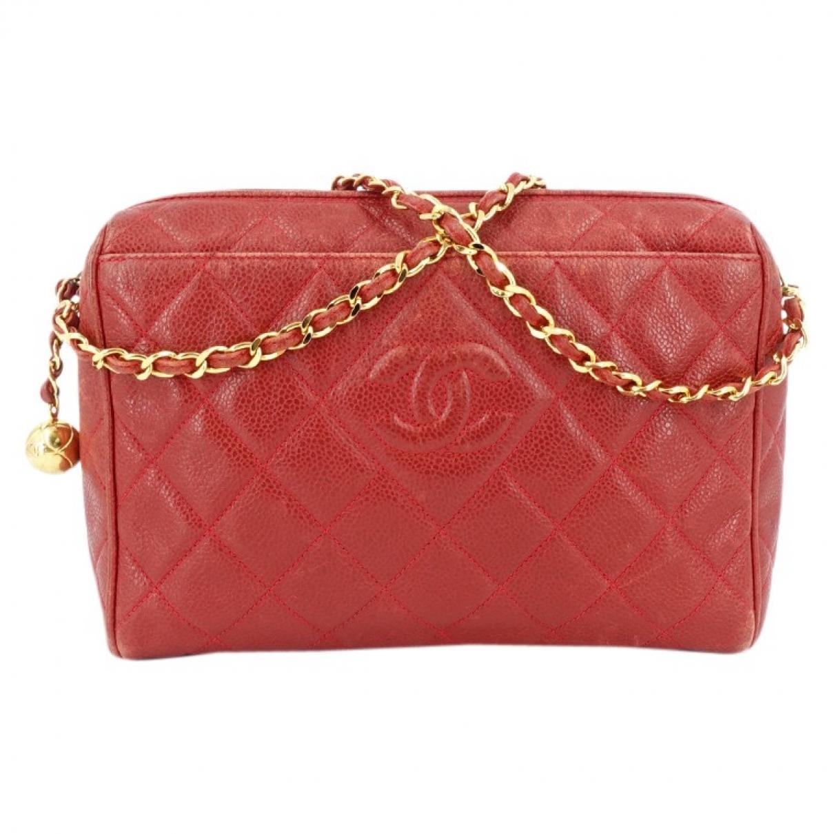 Chanel - Sac a main Camera pour femme en cuir - rouge