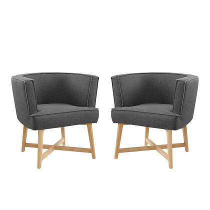 Anders Collection EEI-4424-GRY Set of 2 Accent Chairs with Removable Cushion  Non-Marking Foot Caps  Ash Wood Frame and Dense Foam Padded Polyester