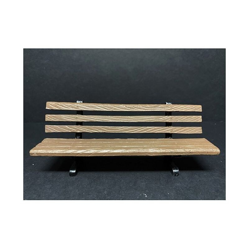 Park Bench 2 piece Accessory Set for 1/24 Scale Models by American Diorama - Brown (Brown)