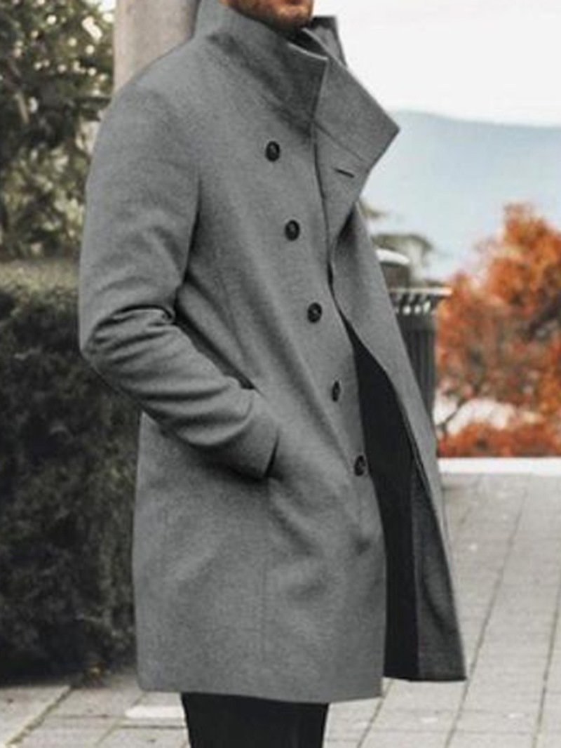 Ericdress Stand Collar Mid-Length Plain Casual Single-Breasted Men's Coat