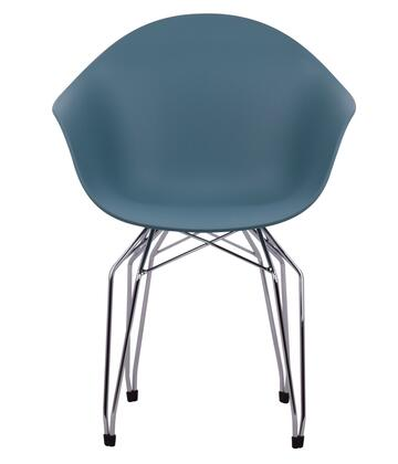 TA Collection 125-1533OB-DC Armchair with Ocean Blue Seat and Chrome