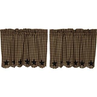 Primitive Kitchen Curtains VHC Star Tier Pair Rod Pocket Cotton Star Appliqued (24x36 - Khaki)
