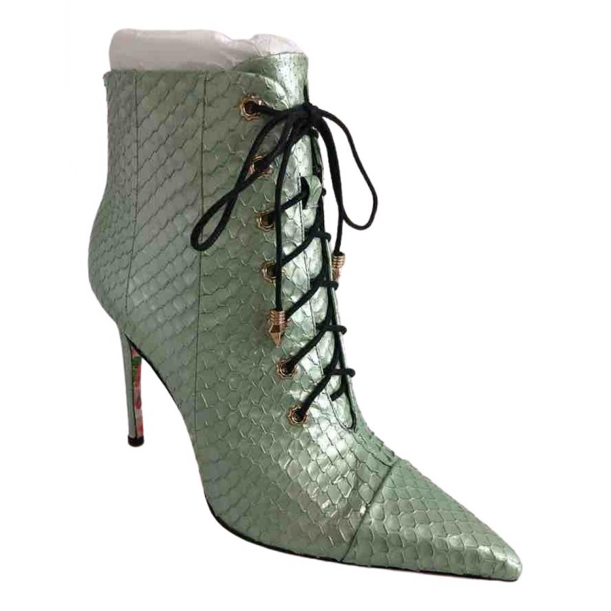 - Boots   pour femme en serpent deau - vert