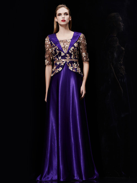 Milanoo Long Evening Dress Satin Mother Dress Embroidered Beading Sash A Line Illusion Half Sleeve Shawl Collar Maxi Wedding Guest Dresses