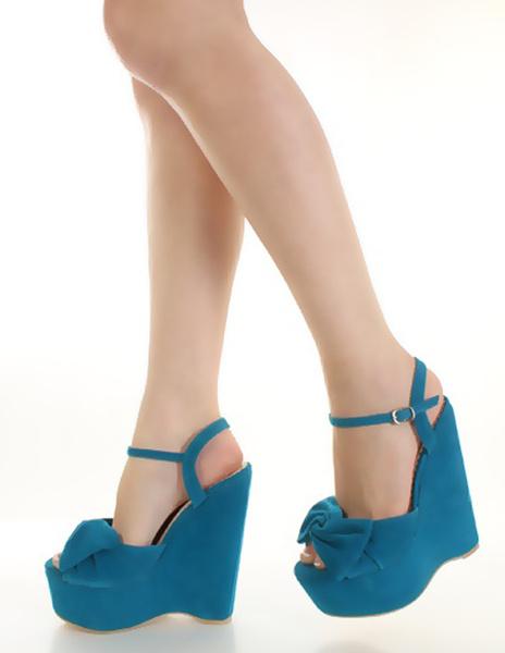 Milanoo Sandalias Plataforma Azules De Cuña De Cuero De Estilo Dulce