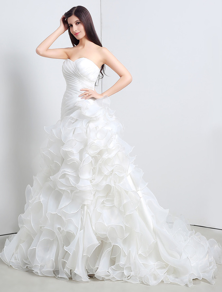 Milanoo Ball Gown Strapless Sweatheart Ruffled A-Line Wedding Gown With Chapel Train
