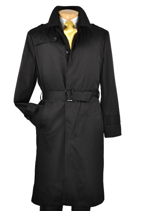 Black Single Breasted Trench Coat