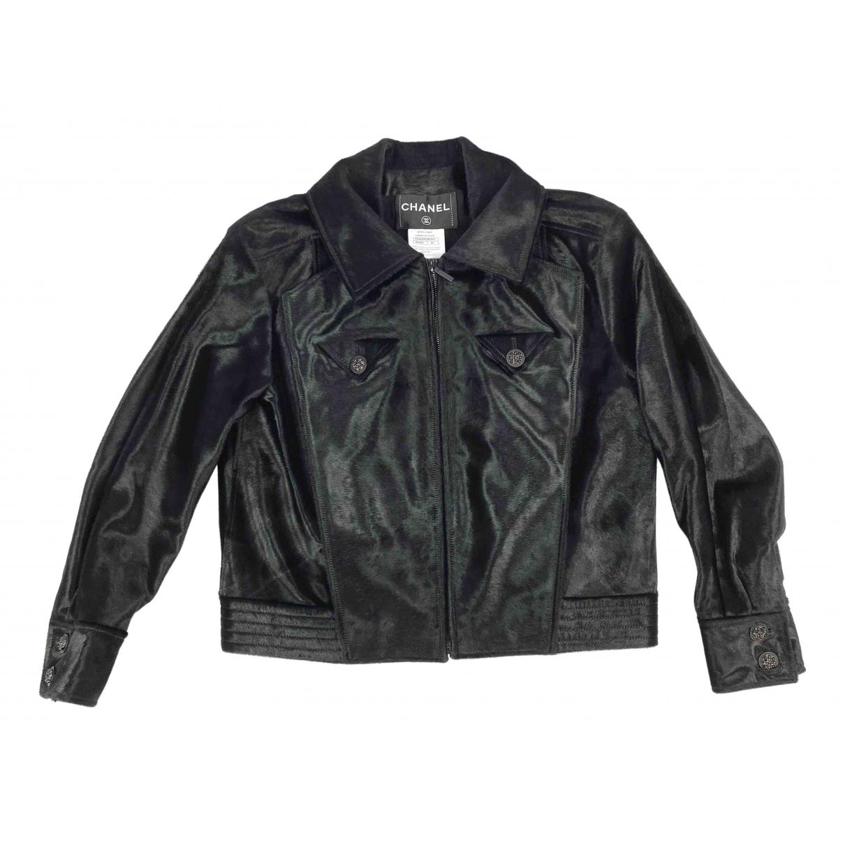 Chanel - Blouson   pour femme en cuir - noir